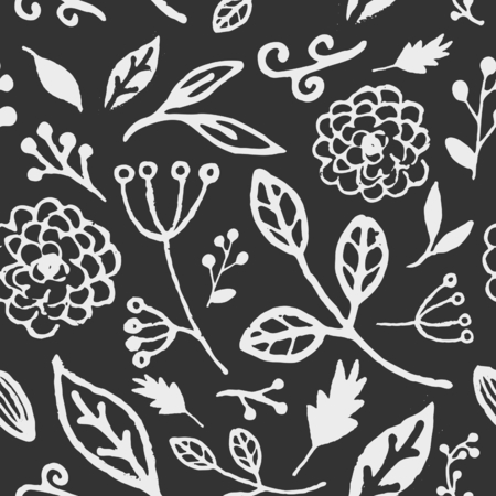 Hand drawn seamless repeat pattern with floral design elements in chalkboard style. Vector