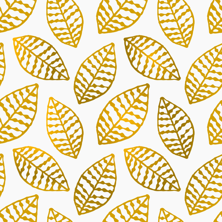 Hand drawn seamless repeat pattern with golden foil ornate leaves. Vector