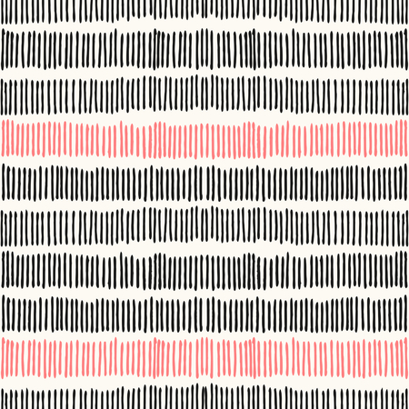 Hand drawn abstract seamless repeat pattern with lines in black and coral pink.