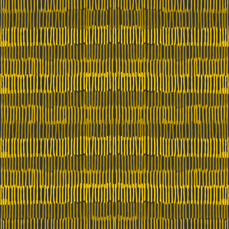 Hand drawn abstract seamless repeat pattern with lines in black and golden. Vector