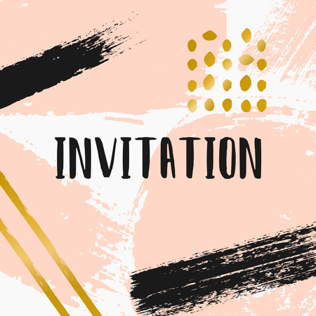 pink and black: Hand drawn brush strokes invitation designs. Pastel pink, black and golden color palette. Modern and elegant wedding design invitation. Illustration