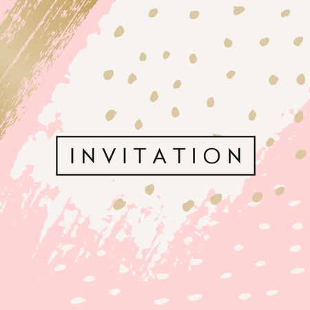 Hand drawn brush strokes invitation designs. Pastel pink, off-white and golden color palette. Modern and elegant wedding design invitation.