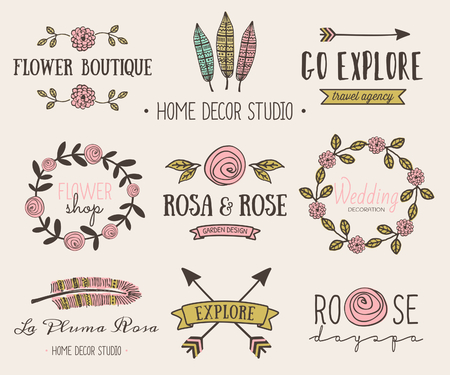 A set of hand drawn vintage style design elements. Modern and elegant premade typographic logo designs for florists, travel agencies, wedding and home decor. Vector