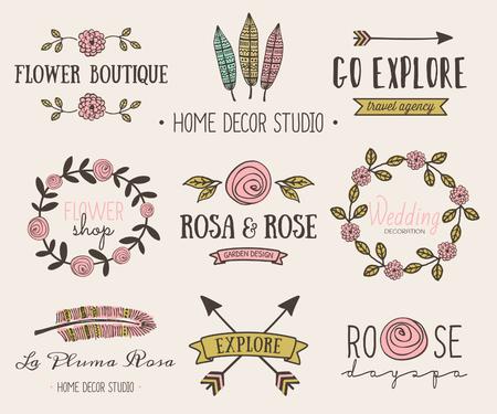 tribales: Un conjunto de dibujado a mano elementos de dise�o de estilo vintage. Modernos y elegantes dise�os prefabricados logo tipogr�ficas para florister�as, agencias de viajes, la boda y la decoraci�n del hogar.