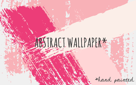 Hand drawn brush strokes wallpaper design. Pastel pink, fucsia and white color palette.