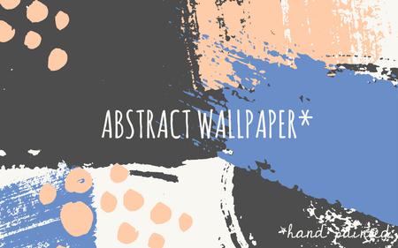 decorate element: Hand drawn brush strokes wallpaper design. Pastel orange, blue and dark gray color palette.