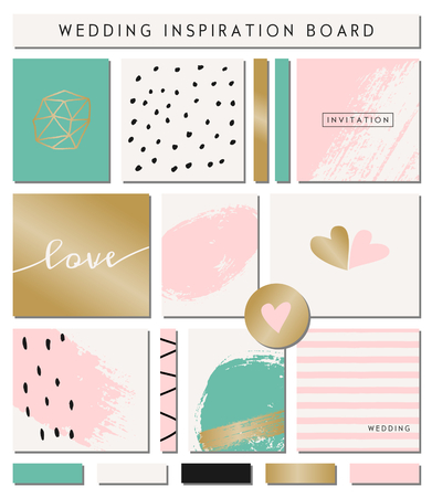 A set of wedding invitation templates, seamless patterns, ribbons, cards and stickers isolated on white. Pastel pink, turquoise green, golden, black and white color palette. Wedding inspiration board designs. Vector