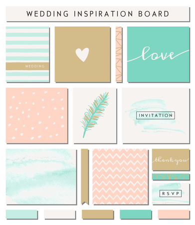 A set of wedding invitation templates, seamless patterns, ribbons, cards and stickers isolated on white. Pastel pink, turquoise green, golden, teal and white color palette. Wedding inspiration board designs. Vector