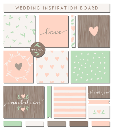 A set of wedding invitation templates, seamless patterns, ribbons, cards and stickers isolated on white. Pastel pink, mint green, brown and white color palette. Wedding inspiration board designs. Vector