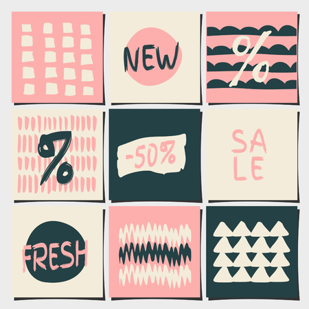 A set of nine abstract geometric designs in pastel pink, dark gray and beige colors. Shopping, sales, advertising, price tags and product label templates. Vector