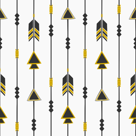Seamless pattern with arrows in black and golden, tribal repeat background. Vector