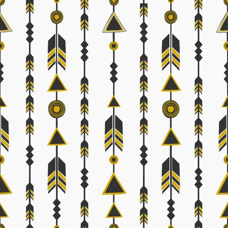 tribales: Modelo incons�til con las flechas en negro y dorado, fondo de la repetici�n de la tribu. Vectores