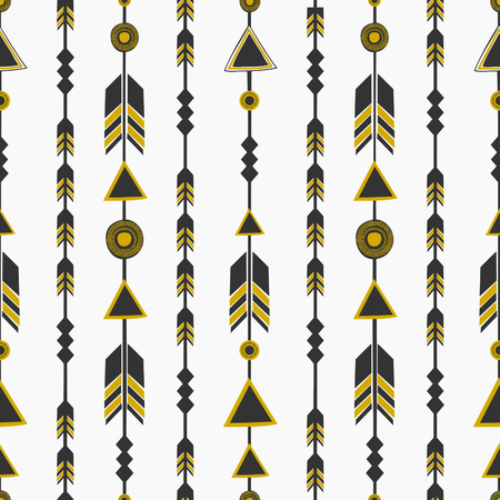 black arrow: Seamless pattern with arrows in black and golden, tribal repeat background. Illustration