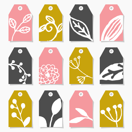 decorate element: A set of twelve hand drawn floral design labels in pink, green and dark gray, isolated on white. Illustration