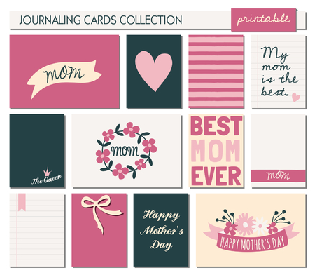 A set of 12 templates for greetingjournaling cards in for Mothers day. Pastel and deep pink, cream, black and white color palette. Vertical cards are scalable to a standard 3x4, horizontal cards are scalable to 6x4 size. Vector