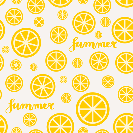 Lemon slices summer seamless pattern in sunny yellow and white. Vector