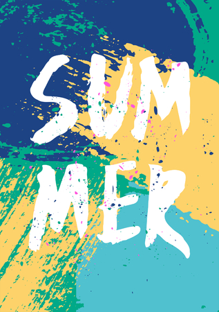 Hand drawn brush strokes summer design. Blue, turquoise and yellow color palette. Vector
