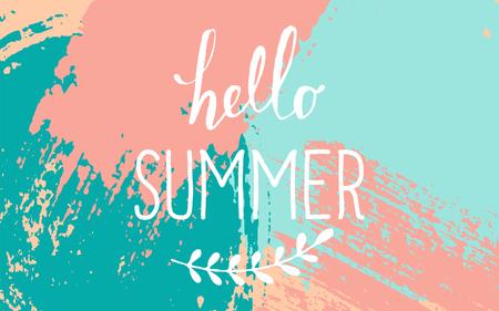 """Hand getrokken penseelstreken zomer ontwerp. Pastel blauw, roze en turquoise kleurenpalet. """"Hallo Summer"""" typografisch ontwerp."""