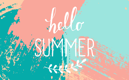 """azul turqueza: Pincel dibujado a mano acaricia diseño de verano. Pastel azul, rosa y paleta de colores turquesa. Diseño tipográfico """"Hello Summer""""."""