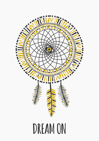 american dream: Indian dream catcher with text Dream On, isolated on white.