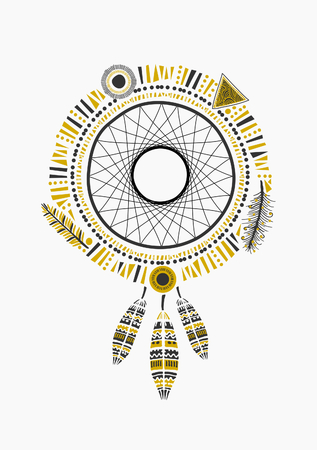 catcher: Indian dream catcher with ornate feathers in black and golden, isolated on white. Illustration