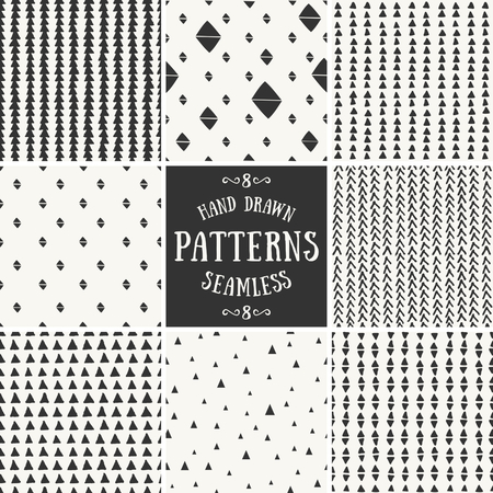 A set of hand drawn style abstract seamless repeat patterns.