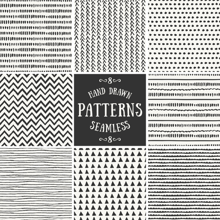 geometric shapes: A set of hand drawn style abstract seamless repeat patterns.