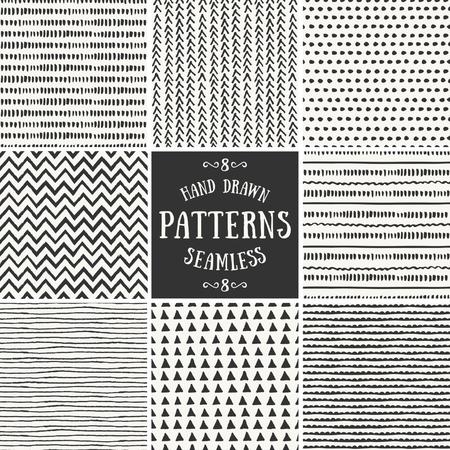 Een set van de hand getekende stijl abstracte naadloze patronen herhalen.