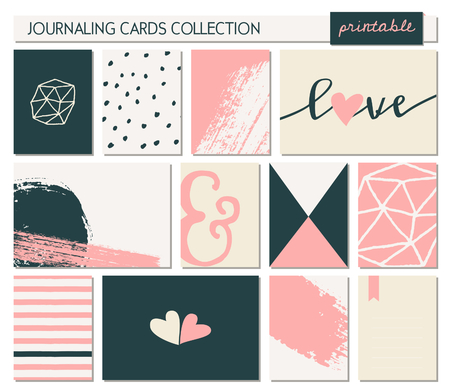 A set of 12 templates for greetingjournaling cards for Valentines Day weddings engagements. Pastel pink, cream, black and white color palette. Vertical cards are scalable to a standard 3x4, horizontal cards are scalable to 6x4 size. Vector