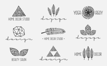 A set of nine modern and elegant hand drawn icon designs, isolated on light gray background. Hand drawn design elements, feathers, leaves, triangles, geometric shapes. Vector