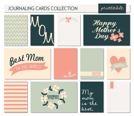 A set of 12 templates for greetingjournaling cards in for Mothers day. Pastel pink, blue, black and white color palette. Vertical cards are scalable to a standard 3x4, horizontal cards are scalable to 6x4 size. Vector