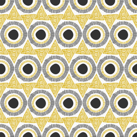 Elegant and stylish seamless repeat pattern with ornate triangles and circles.