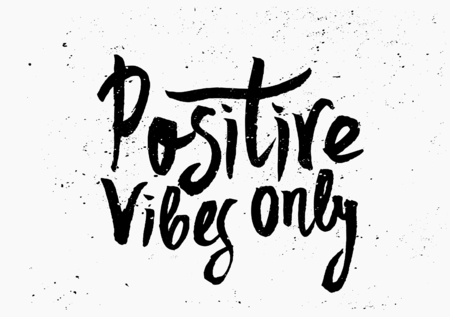 hand lettered: Hand lettered text Positive Vibes Only in black and white. Inspirational poster, print, clothing design.