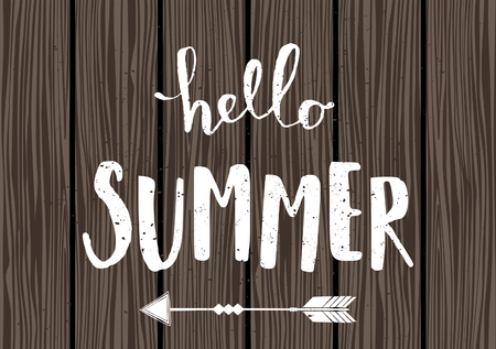 Summer typographic design in white on wooden planks background. Vector