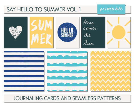A set of five templates for greetingjournaling cards and three seamless patterns for the summer season. Sunny yellow, light and deep blue, black and white color palette. Cards are scalable to a standard 3x4 size. Vector