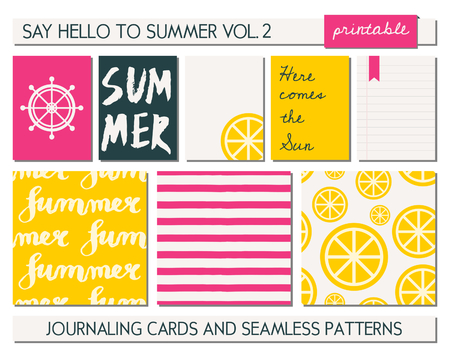 scalable: A set of five templates for greetingjournaling cards and three seamless patterns for the summer season. Sunny yellow, bright pink, black and white color palette. Cards are scalable to a standard 3x4 size.