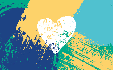 Hand drawn brush strokes summer design. Blue, green and yellow color palette. Vector