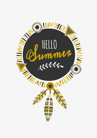 indian summer: Indian dream catcher with text Hello Summer. Tribal decoration design in black and golden.