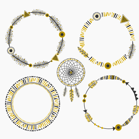 A set of four abstract tribal design frames and a dream catcher with feathers and geometric design elements. Vector