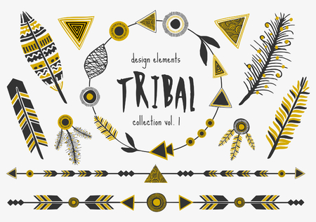 A set of tribal design elements in black and golden. Arrows, decorative borders, text dividers, feathers and frames.