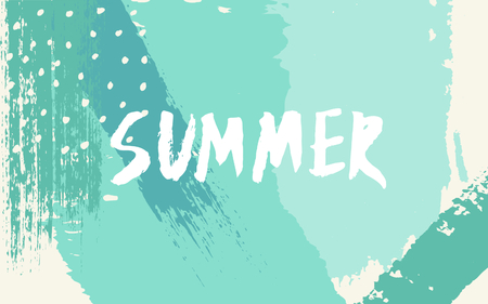 pastel color: Hand drawn brush strokes summer design. Pastel blue, green and turquoise color palette.