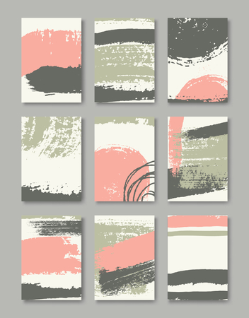A set of hand drawn style greeting card templates in pastel green, pink and brown. Abstract brush strokes cards with copy space. EPS 10 file, gradient mesh used.