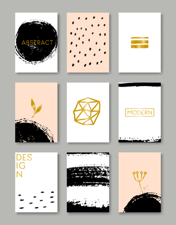 A set of hand drawn style greeting card templates in black, white, gold and peach pink. Abstract brush strokes and ink doodle designs with copy space.  Vector