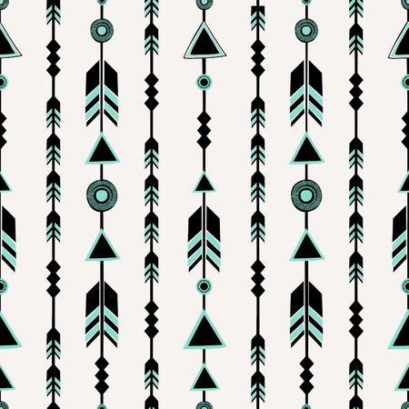 Seamless pattern with arrows in black and blue, tribal repeat background. Vector
