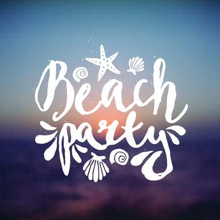 Hand drawn typographic design Beach Party on a blurred sunset background. EPS 10 file, gradient mesh and transparency effects used. Vector