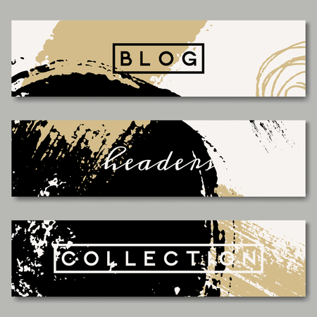 blog: A set of hand drawn web headers in black, white and golden. Abstract brush strokes and ink doodle designs with copy space. EPS 10 file, transparency effects used.