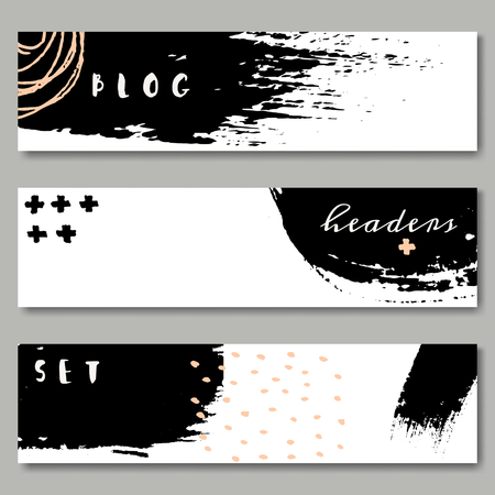 brush in: A set of hand drawn web headers in black, white and pastel pink. Abstract brush strokes and ink doodle designs with copy space. EPS 10 file, transparency effects used.