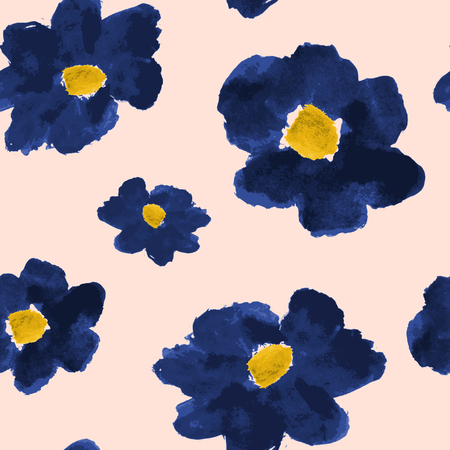 Hand drawn flowers seamless pattern. Deep blue abstract brush strokes flowers on a blush pink background. Vector
