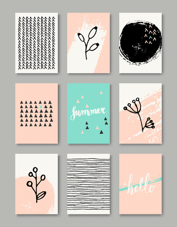 A set of hand drawn style greeting card templates in black, white and pastel pink and blue. Abstract brush strokes, ink doodles and floral element pattern designs with copy space. EPS 10 file, gradient mesh used.