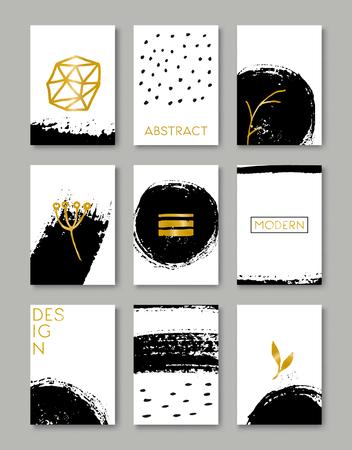 Eine Reihe von handgezeichneten Stil Grußkartenvorlagen in schwarz, weiß und golden. Abstrakte Pinselstrichen, Farb Kritzeleien und florale Element Muster entwirft mit Kopie Raum. EPS 10-Datei, Verlaufsgitterobjekten verwendet.